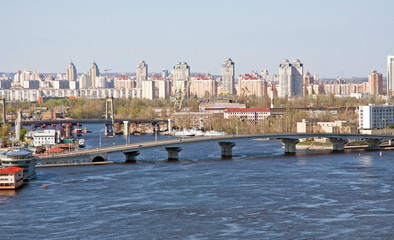 Kiev cityscape with bridge