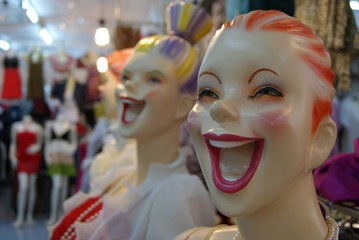 Manakins happy funny laughing colorful