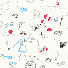 Self adhesive Wall Murals Doodle Memories of Paris (seamless set of doodles).