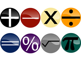 Set of Math Symbols on Multi-Colored Buttons