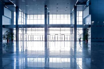 Wide blue hall