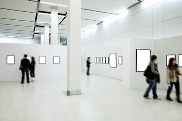 People silhouettes in the museum