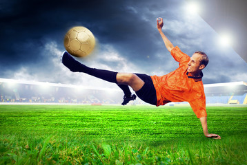 Poster Soccer ball Happiness football player after goal on the field of stadium wit