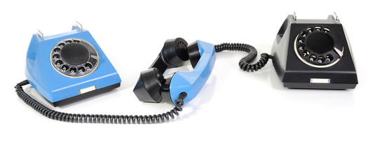 Two telephone with the taken off handset