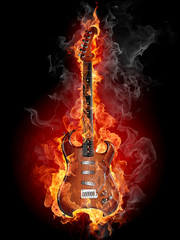 Poster Flamme Burning rock guitar