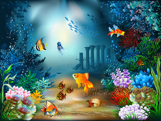 Printed roller blinds Submarine Underwater World