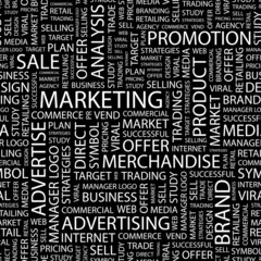 MARKETING. Seamless vector pattern with word cloud.