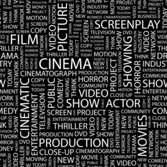 CINEMA. Seamless vector pattern with word cloud.