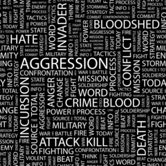AGGRESSION. Seamless vector pattern with word cloud.