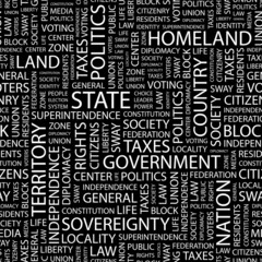 STATE. Seamless vector pattern with word cloud.