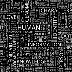 HUMAN. Seamless vector pattern with word cloud.