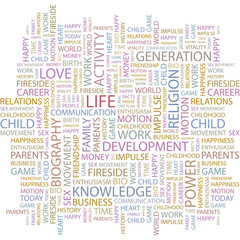 LIFE. Wordcloud vector illustration.
