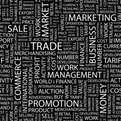 TRADE. Seamless vector pattern with word cloud.