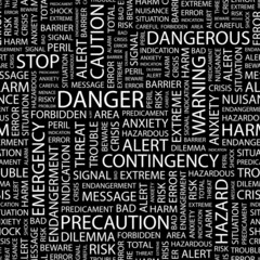 DANGER. Seamless vector pattern with word cloud.
