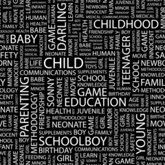 CHILD. Seamless vector pattern with word cloud.