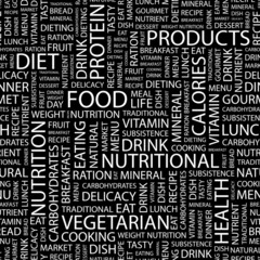 FOOD. Seamless vector pattern with word cloud.
