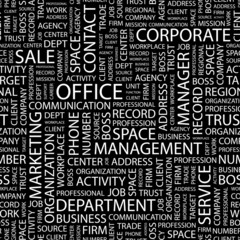 OFFICE. Seamless vector pattern with word cloud.