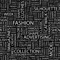 FASHION. Seamless vector pattern with word cloud.