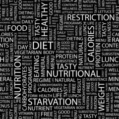 DIET. Seamless vector pattern with word cloud.