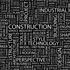 CONSTRUCTION. Seamless vector pattern with word cloud.