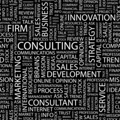 CONSULTING. Seamless vector pattern with word cloud.