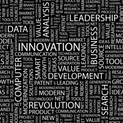 INNOVATION. Seamless vector pattern with word cloud.