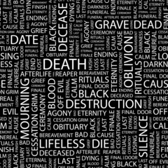 DEATH. Seamless vector pattern with word cloud.