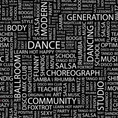 DANCE. Seamless vector background.