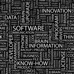 SOFTWARE. Seamless vector pattern with word cloud.