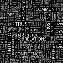TRUST. Seamless vector pattern with word cloud.