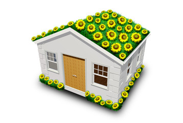 Eco Casa con Girasoli-Eco House with Sunflowers-3d
