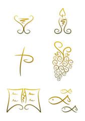 Christliche Symbole: Kelch, Kerze, Bibel, Fisch, ...