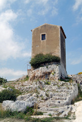 Archimedes's tomb in the archeological park of Syracuse, Sicily