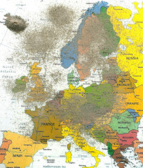 Europe map with volcano dust 2