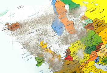 Europe map with volcano dust