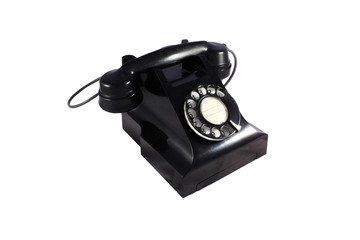 Black retro telephone - isolated with clipping path