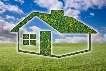 Green Grass House Icon Over Field, Sky and Clouds