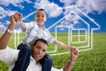Father and Son Over Grass Field, Clouds, Sky and House Icon