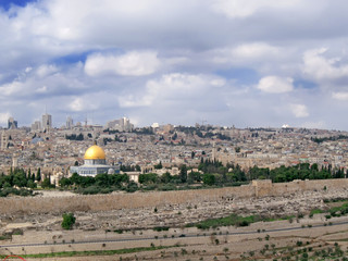Panorama of Holy City with distinctive cuppola of mosque.