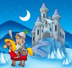 Spoed Foto op Canvas Ridders Knight on horse with winter castle