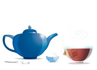 Théière bleue et bol de thé sur fond blanc