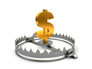 Finance risk concept. Sign dollar on bear trap.
