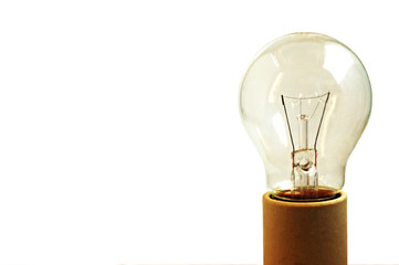 An old light bulb off on a socket isolated
