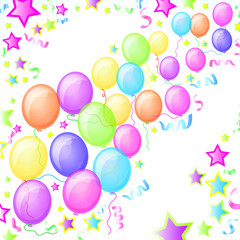 Party Balloons and Stars. Vector.