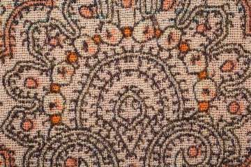 Texture of fabric close up. Detail of pattern on fabric.