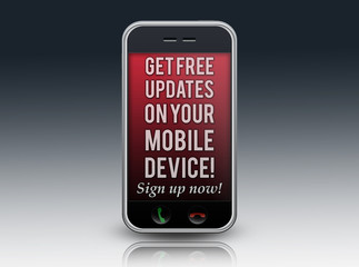 "Mobile Device with ""Free Updates... Sign up now!"" on screen"