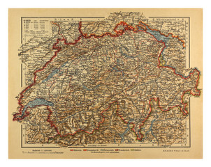 Vintage Switzerland Map from 1900