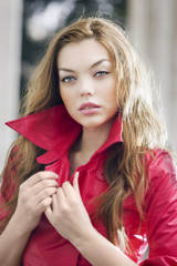 Fashion model posing in jacket
