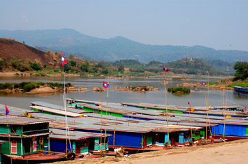 Life of  Mae Kong river in  Lao