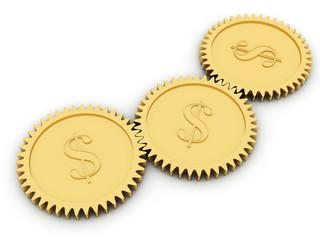 Golden dollar gears on white
